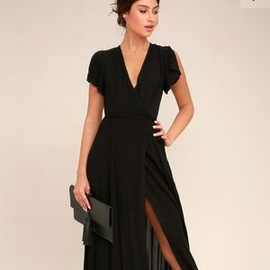 Lulu's Heart of Marigold Black Maxi Wrap Dress